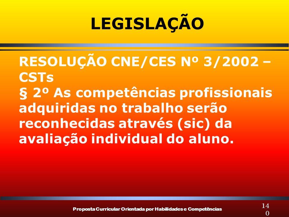 Proposta Curricular Orientada por Habilidades e Competências 140 LEGISLAÇÃO RESOLUÇÃO CNE/CES Nº 3/2002 – CSTs § 2º As competências profissionais adqu
