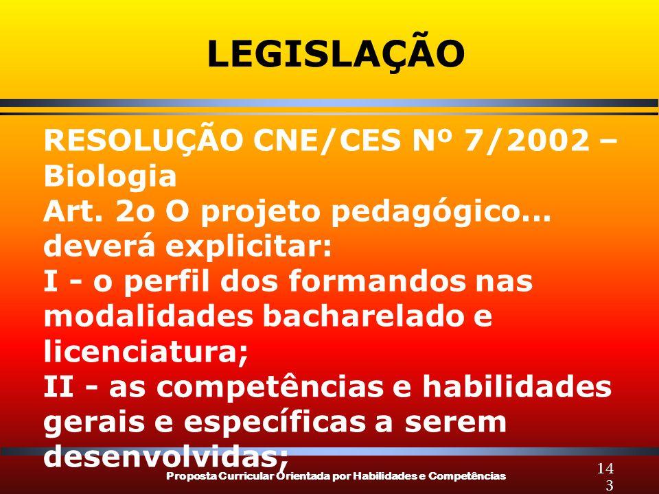 Proposta Curricular Orientada por Habilidades e Competências 143 LEGISLAÇÃO RESOLUÇÃO CNE/CES Nº 7/2002 – Biologia Art. 2o O projeto pedagógico... dev