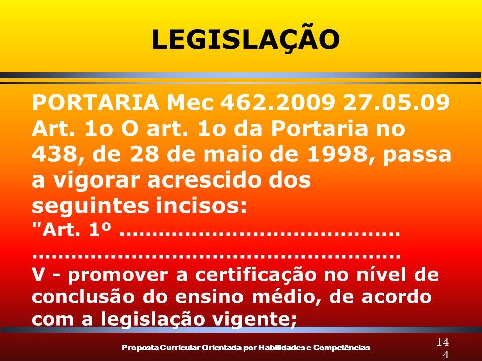 Proposta Curricular Orientada por Habilidades e Competências 144 LEGISLAÇÃO PORTARIA Mec 462.2009 27.05.09 Art. 1o O art. 1o da Portaria no 438, de 28