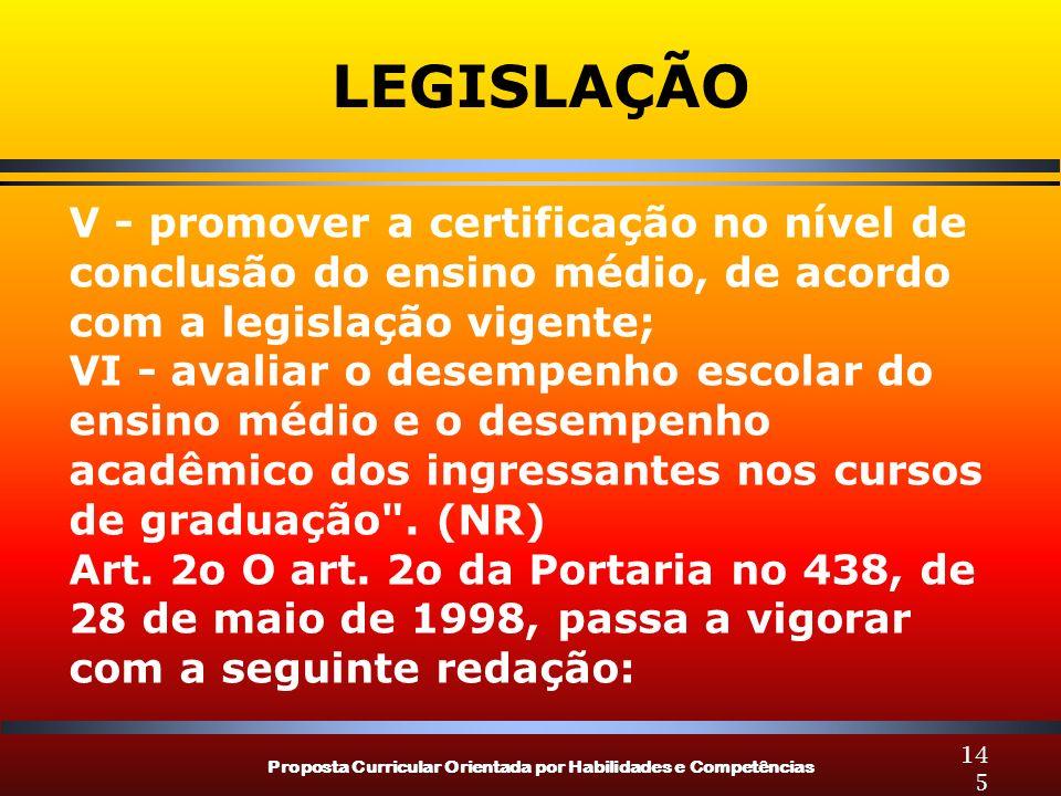 Proposta Curricular Orientada por Habilidades e Competências 145 LEGISLAÇÃO V - promover a certificação no nível de conclusão do ensino médio, de acor