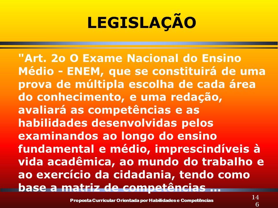 Proposta Curricular Orientada por Habilidades e Competências 146 LEGISLAÇÃO Art.