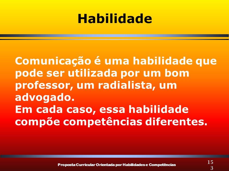 Proposta Curricular Orientada por Habilidades e Competências 153 Habilidade Comunicação é uma habilidade que pode ser utilizada por um bom professor,