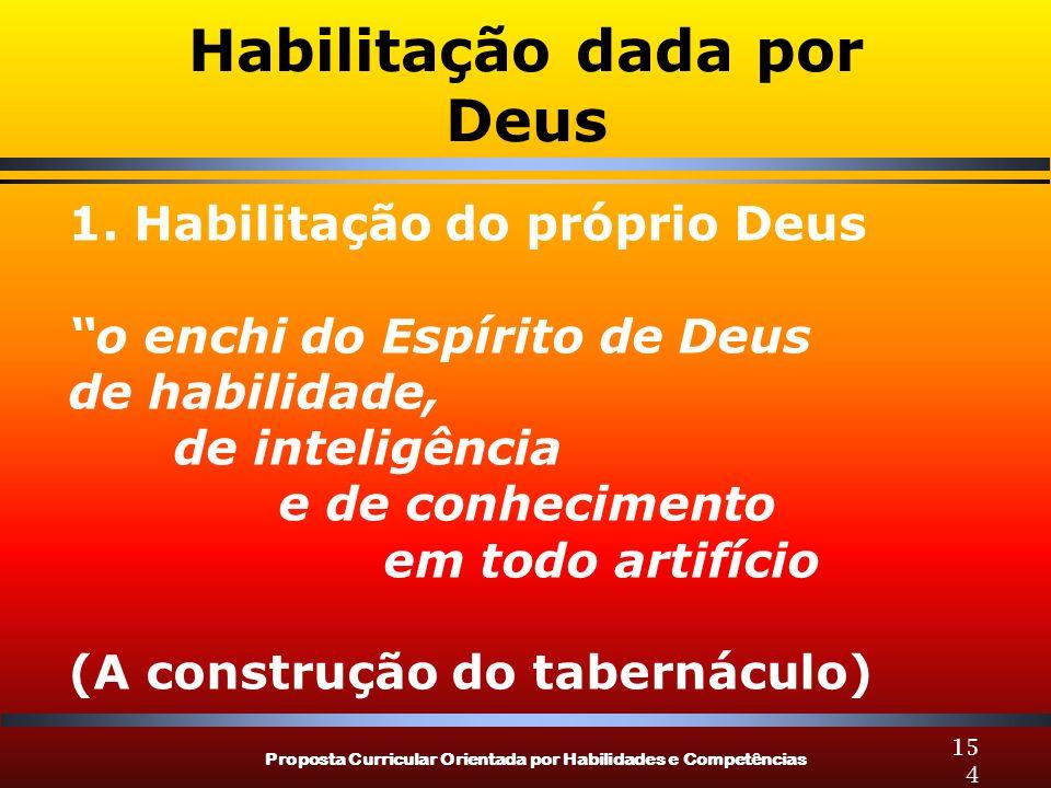Proposta Curricular Orientada por Habilidades e Competências 154 Habilitação dada por Deus 1.