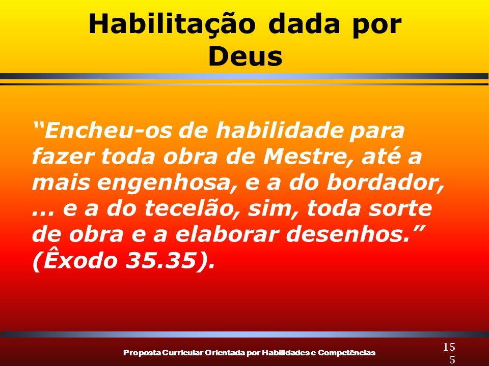 Proposta Curricular Orientada por Habilidades e Competências 155 Habilitação dada por Deus Encheu-os de habilidade para fazer toda obra de Mestre, até