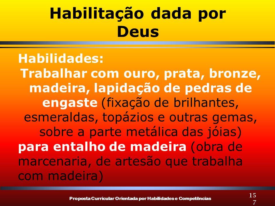 Proposta Curricular Orientada por Habilidades e Competências 157 Habilitação dada por Deus Habilidades: Trabalhar com ouro, prata, bronze, madeira, la