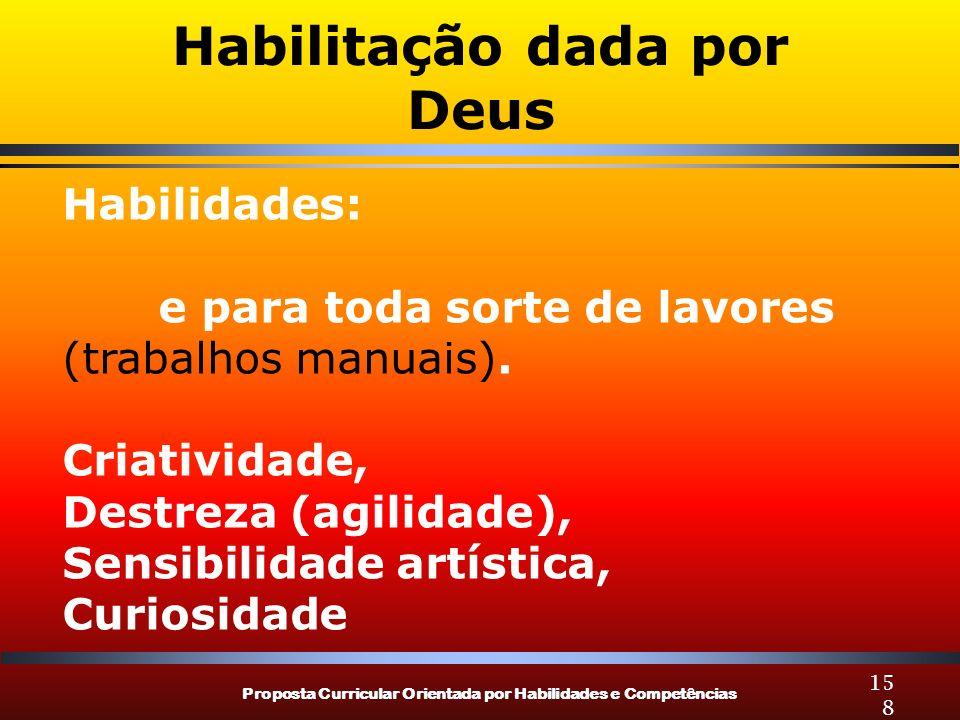 Proposta Curricular Orientada por Habilidades e Competências 158 Habilitação dada por Deus Habilidades: e para toda sorte de lavores (trabalhos manuai