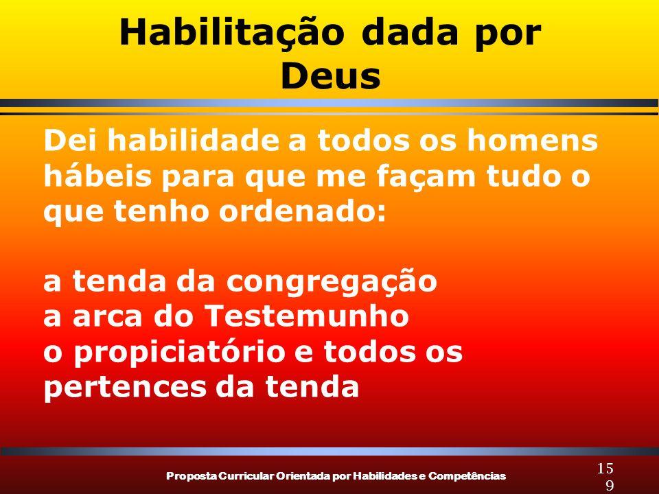 Proposta Curricular Orientada por Habilidades e Competências 159 Habilitação dada por Deus Dei habilidade a todos os homens hábeis para que me façam t