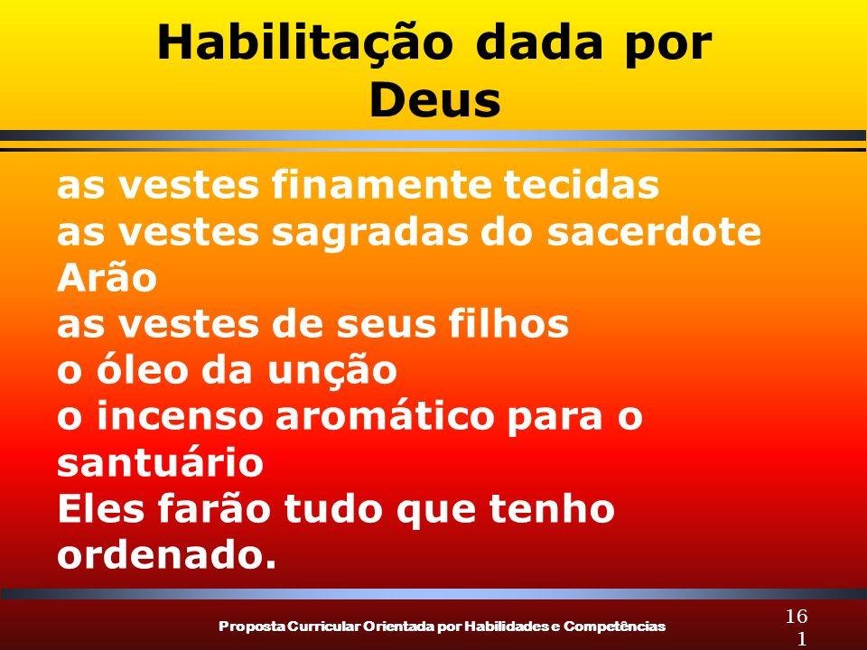 Proposta Curricular Orientada por Habilidades e Competências 161 Habilitação dada por Deus as vestes finamente tecidas as vestes sagradas do sacerdote