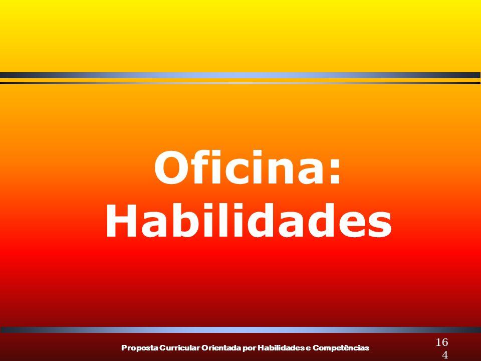 Proposta Curricular Orientada por Habilidades e Competências 164 Oficina: Habilidades