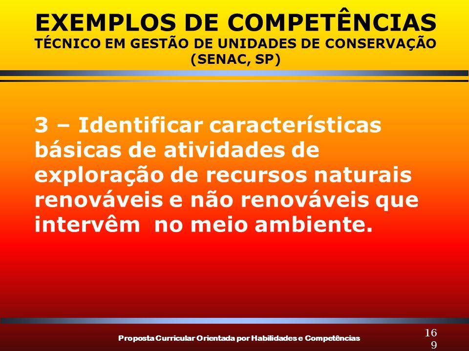 Proposta Curricular Orientada por Habilidades e Competências 169 EXEMPLOS DE COMPETÊNCIAS TÉCNICO EM GESTÃO DE UNIDADES DE CONSERVAÇÃO (SENAC, SP) 3 –