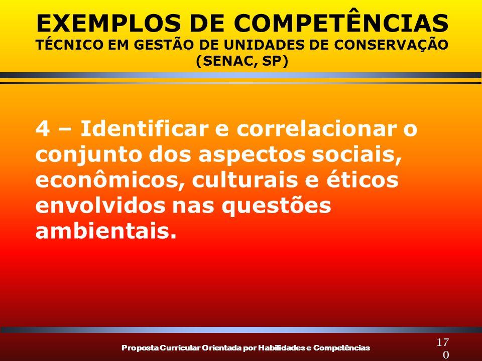 Proposta Curricular Orientada por Habilidades e Competências 170 EXEMPLOS DE COMPETÊNCIAS TÉCNICO EM GESTÃO DE UNIDADES DE CONSERVAÇÃO (SENAC, SP) 4 –