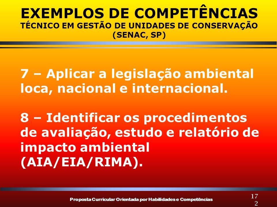 Proposta Curricular Orientada por Habilidades e Competências 172 EXEMPLOS DE COMPETÊNCIAS TÉCNICO EM GESTÃO DE UNIDADES DE CONSERVAÇÃO (SENAC, SP) 7 – Aplicar a legislação ambiental loca, nacional e internacional.