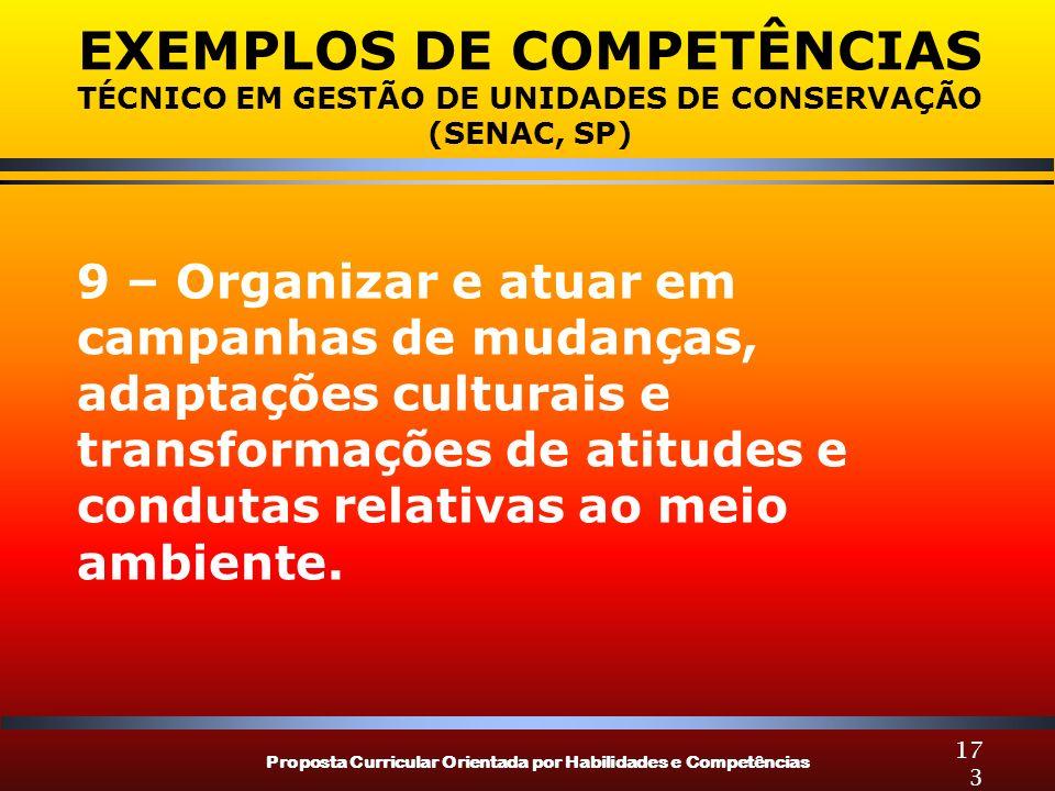 Proposta Curricular Orientada por Habilidades e Competências 173 EXEMPLOS DE COMPETÊNCIAS TÉCNICO EM GESTÃO DE UNIDADES DE CONSERVAÇÃO (SENAC, SP) 9 –