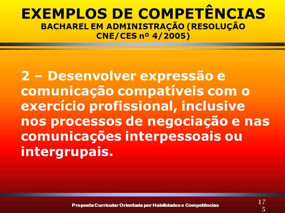 Proposta Curricular Orientada por Habilidades e Competências 175 EXEMPLOS DE COMPETÊNCIAS BACHAREL EM ADMINISTRAÇÃO (RESOLUÇÃO CNE/CES nº 4/2005) 2 –