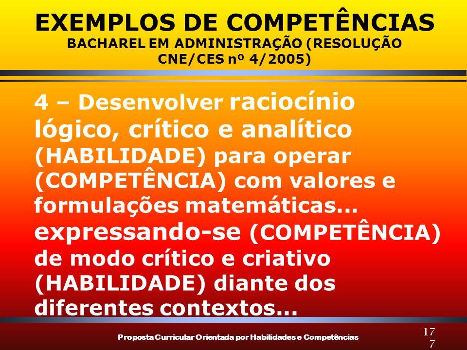 Proposta Curricular Orientada por Habilidades e Competências 177 EXEMPLOS DE COMPETÊNCIAS BACHAREL EM ADMINISTRAÇÃO (RESOLUÇÃO CNE/CES nº 4/2005) 4 – Desenvolver raciocínio lógico, crítico e analítico (HABILIDADE) para operar (COMPETÊNCIA) com valores e formulações matemáticas...