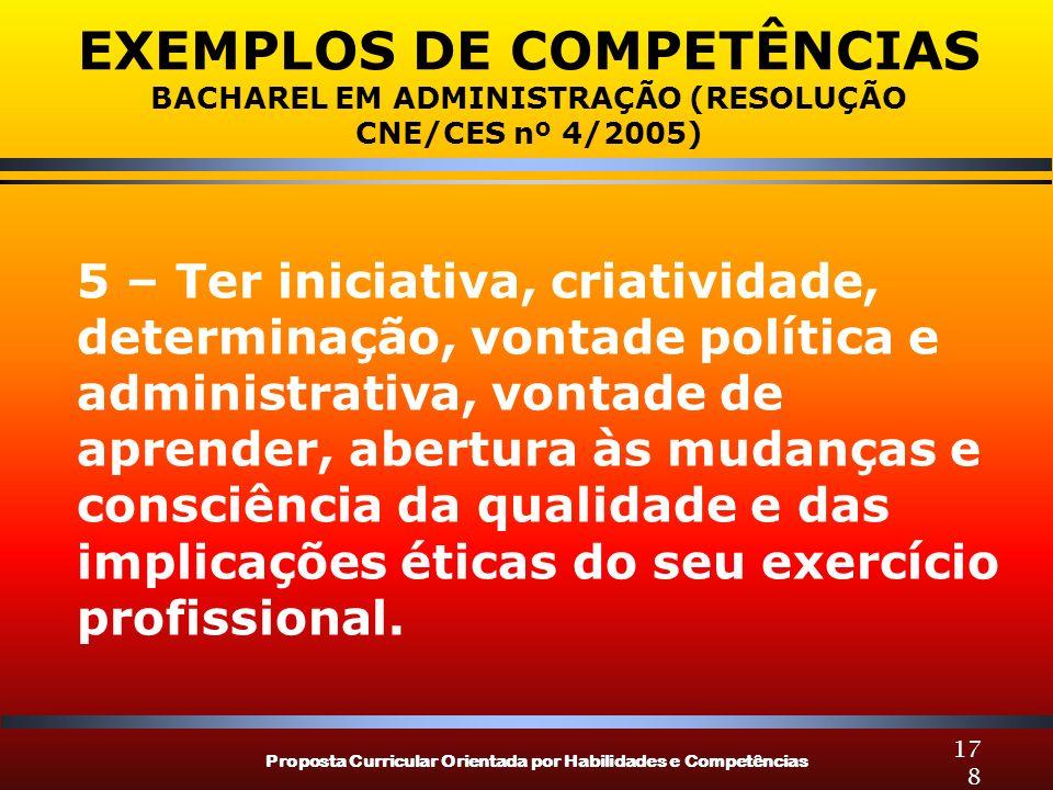 Proposta Curricular Orientada por Habilidades e Competências 178 EXEMPLOS DE COMPETÊNCIAS BACHAREL EM ADMINISTRAÇÃO (RESOLUÇÃO CNE/CES nº 4/2005) 5 –