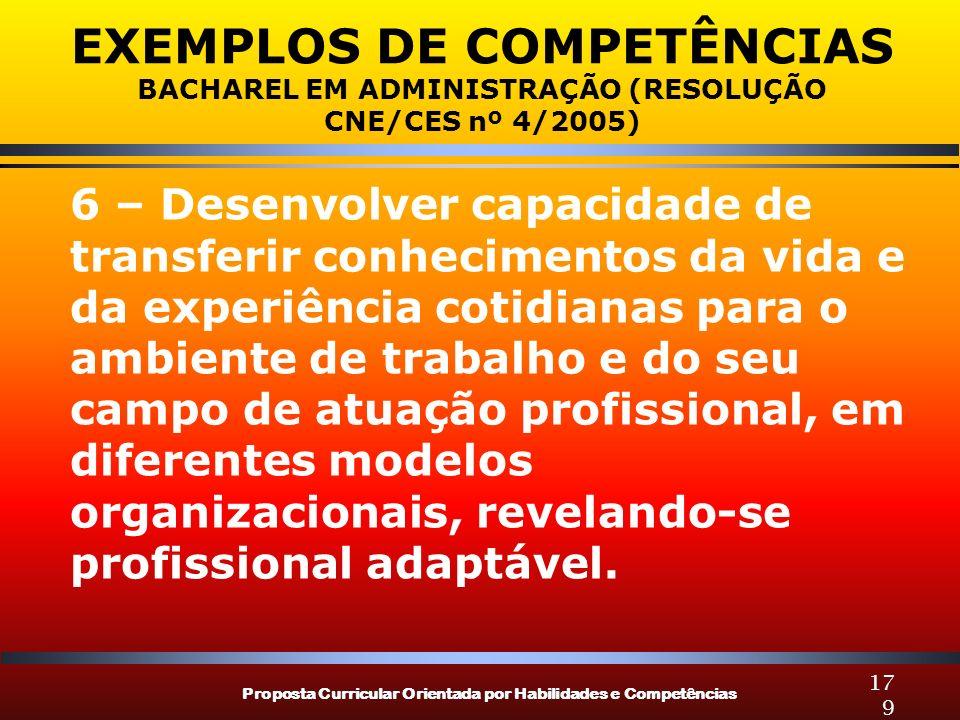 Proposta Curricular Orientada por Habilidades e Competências 179 EXEMPLOS DE COMPETÊNCIAS BACHAREL EM ADMINISTRAÇÃO (RESOLUÇÃO CNE/CES nº 4/2005) 6 –