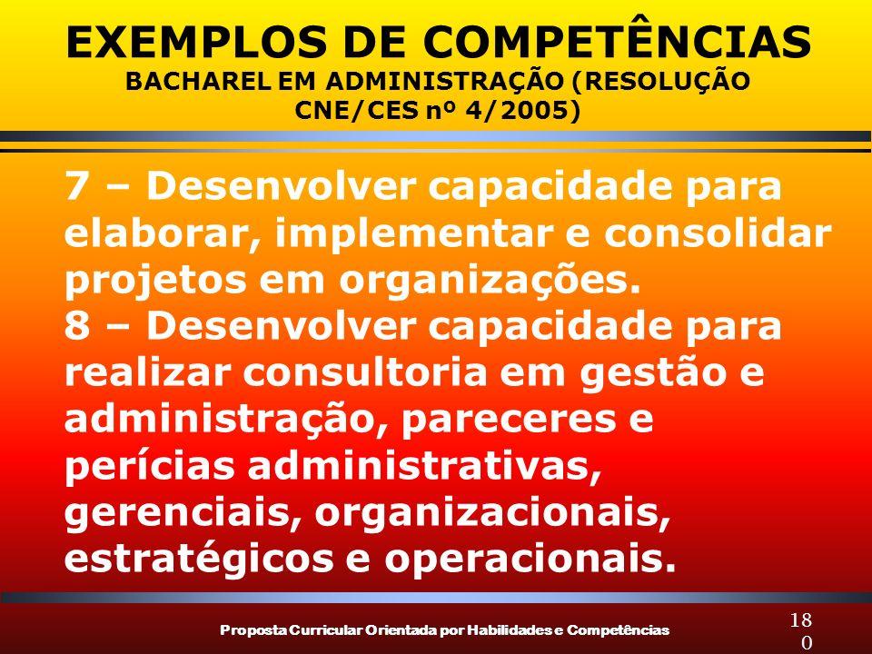 Proposta Curricular Orientada por Habilidades e Competências 180 EXEMPLOS DE COMPETÊNCIAS BACHAREL EM ADMINISTRAÇÃO (RESOLUÇÃO CNE/CES nº 4/2005) 7 – Desenvolver capacidade para elaborar, implementar e consolidar projetos em organizações.