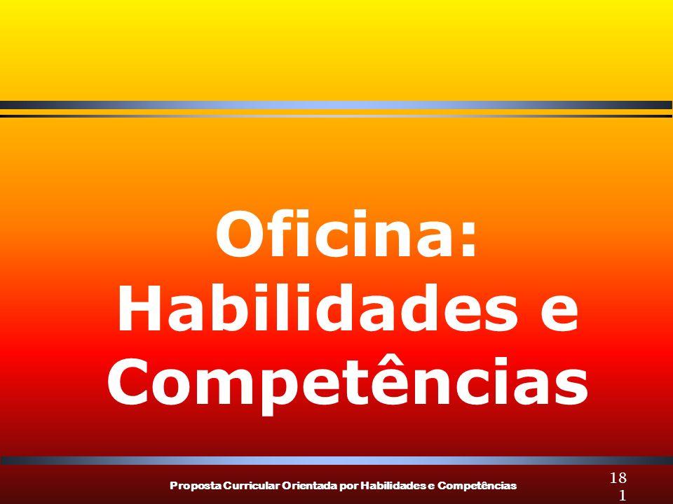 Proposta Curricular Orientada por Habilidades e Competências 181 Oficina: Habilidades e Competências