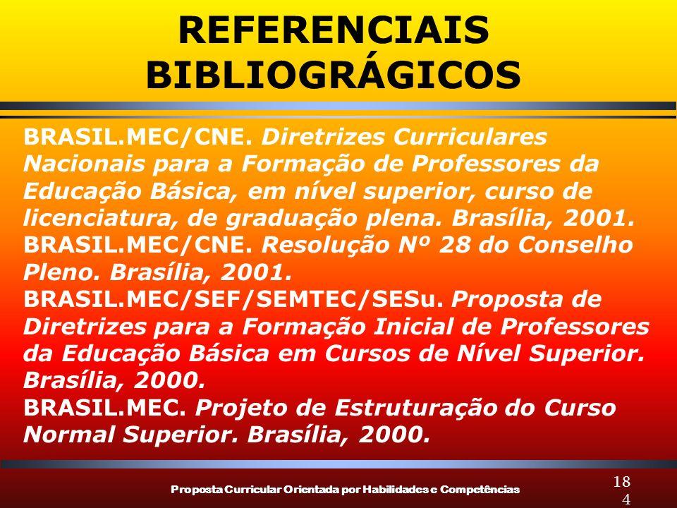 Proposta Curricular Orientada por Habilidades e Competências 184 BRASIL.MEC/CNE. Diretrizes Curriculares Nacionais para a Formação de Professores da E