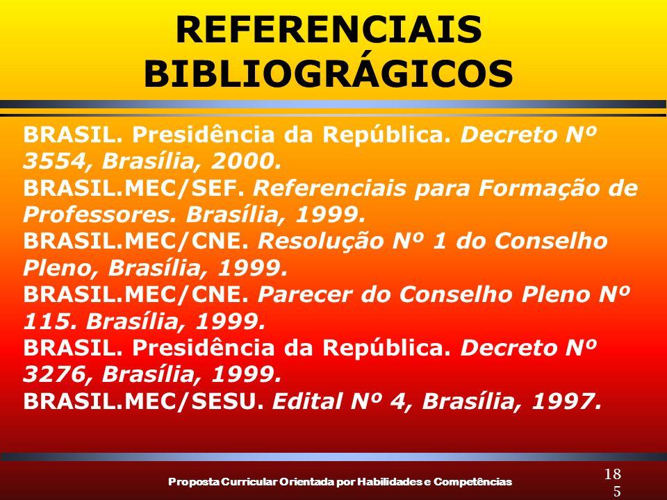 Proposta Curricular Orientada por Habilidades e Competências 185 BRASIL. Presidência da República. Decreto Nº 3554, Brasília, 2000. BRASIL.MEC/SEF. Re