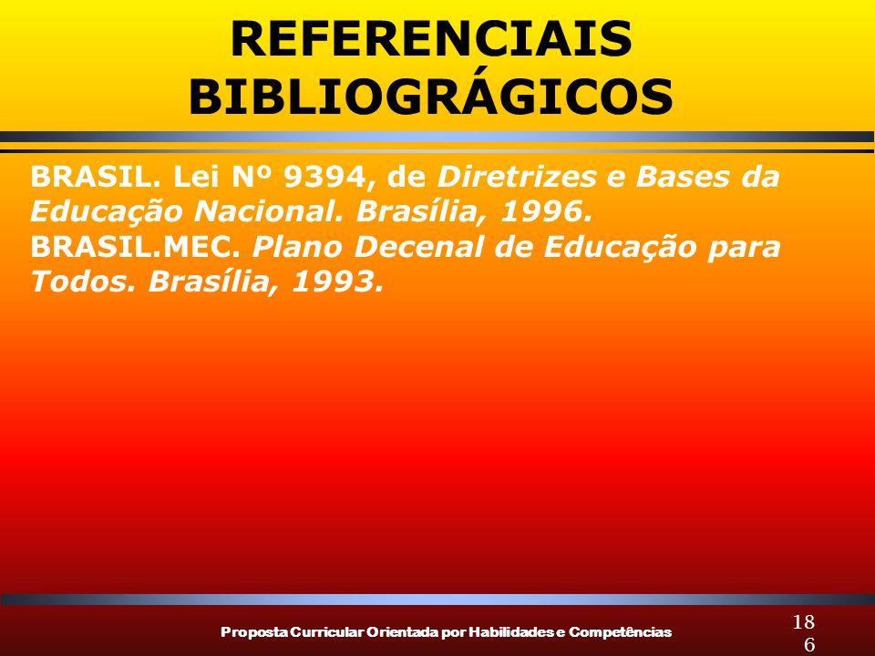 Proposta Curricular Orientada por Habilidades e Competências 186 BRASIL. Lei Nº 9394, de Diretrizes e Bases da Educação Nacional. Brasília, 1996. BRAS