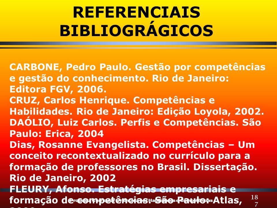 Proposta Curricular Orientada por Habilidades e Competências 187 CARBONE, Pedro Paulo. Gestão por competências e gestão do conhecimento. Rio de Janeir