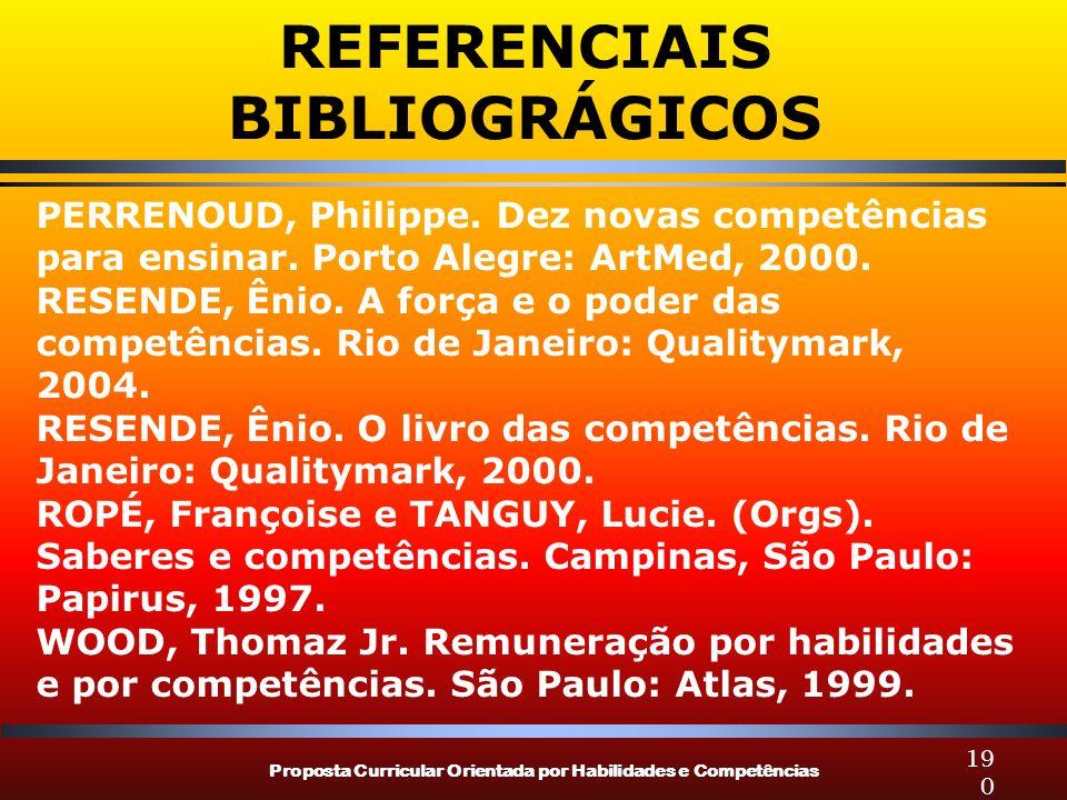 Proposta Curricular Orientada por Habilidades e Competências 190 PERRENOUD, Philippe. Dez novas competências para ensinar. Porto Alegre: ArtMed, 2000.