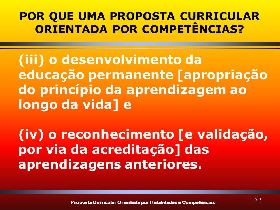 Proposta Curricular Orientada por Habilidades e Competências 30 POR QUE UMA PROPOSTA CURRICULAR ORIENTADA POR COMPETÊNCIAS? (iii) o desenvolvimento da
