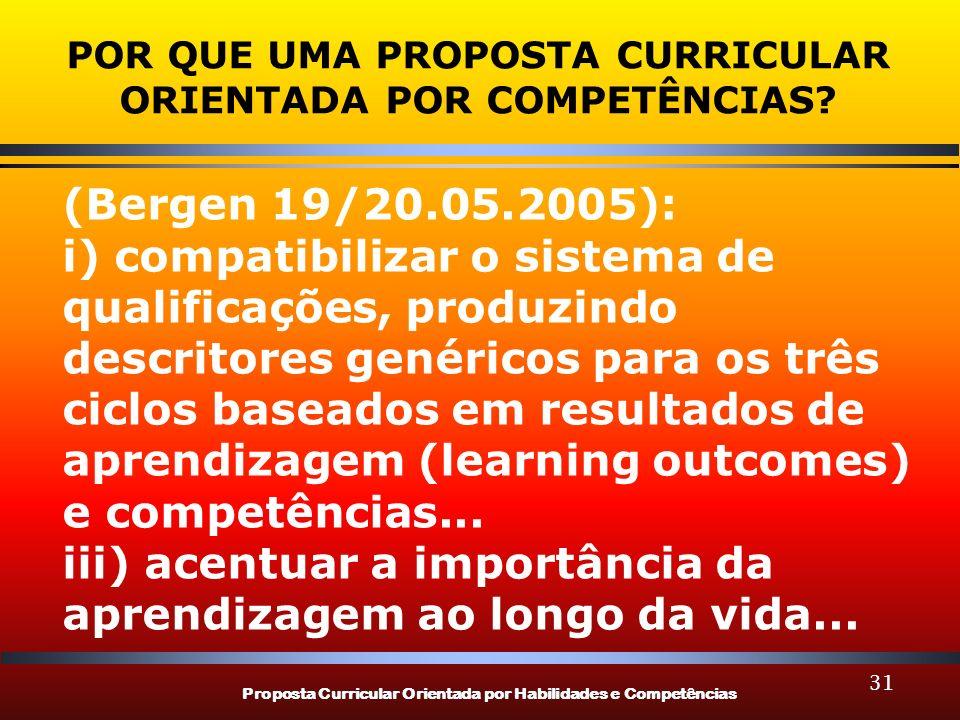 Proposta Curricular Orientada por Habilidades e Competências 31 POR QUE UMA PROPOSTA CURRICULAR ORIENTADA POR COMPETÊNCIAS? (Bergen 19/20.05.2005): i)