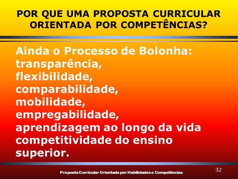 Proposta Curricular Orientada por Habilidades e Competências 32 POR QUE UMA PROPOSTA CURRICULAR ORIENTADA POR COMPETÊNCIAS? Ainda o Processo de Bolonh