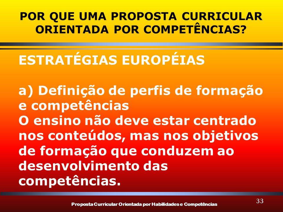 Proposta Curricular Orientada por Habilidades e Competências 33 POR QUE UMA PROPOSTA CURRICULAR ORIENTADA POR COMPETÊNCIAS? ESTRATÉGIAS EUROPÉIAS a) D