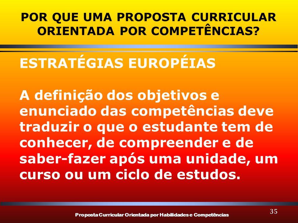Proposta Curricular Orientada por Habilidades e Competências 35 POR QUE UMA PROPOSTA CURRICULAR ORIENTADA POR COMPETÊNCIAS? ESTRATÉGIAS EUROPÉIAS A de