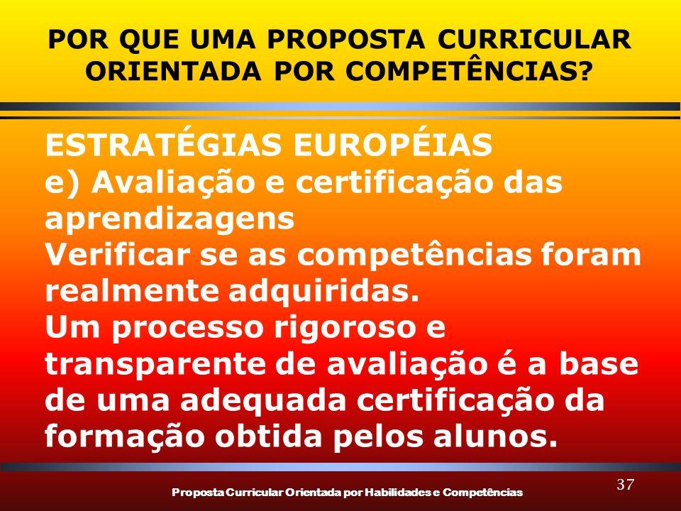Proposta Curricular Orientada por Habilidades e Competências 37 POR QUE UMA PROPOSTA CURRICULAR ORIENTADA POR COMPETÊNCIAS? ESTRATÉGIAS EUROPÉIAS e) A