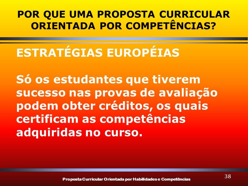 Proposta Curricular Orientada por Habilidades e Competências 38 POR QUE UMA PROPOSTA CURRICULAR ORIENTADA POR COMPETÊNCIAS? ESTRATÉGIAS EUROPÉIAS Só o