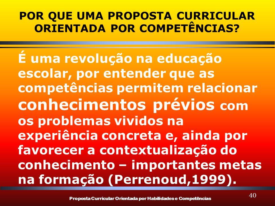 Proposta Curricular Orientada por Habilidades e Competências 40 POR QUE UMA PROPOSTA CURRICULAR ORIENTADA POR COMPETÊNCIAS? É uma revolução na educaçã