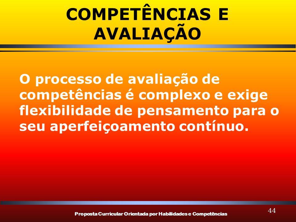 Proposta Curricular Orientada por Habilidades e Competências 44 COMPETÊNCIAS E AVALIAÇÃO O processo de avaliação de competências é complexo e exige flexibilidade de pensamento para o seu aperfeiçoamento contínuo.