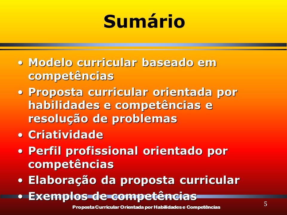 Proposta Curricular Orientada por Habilidades e Competências Sumário Modelo curricular baseado em competênciasModelo curricular baseado em competência
