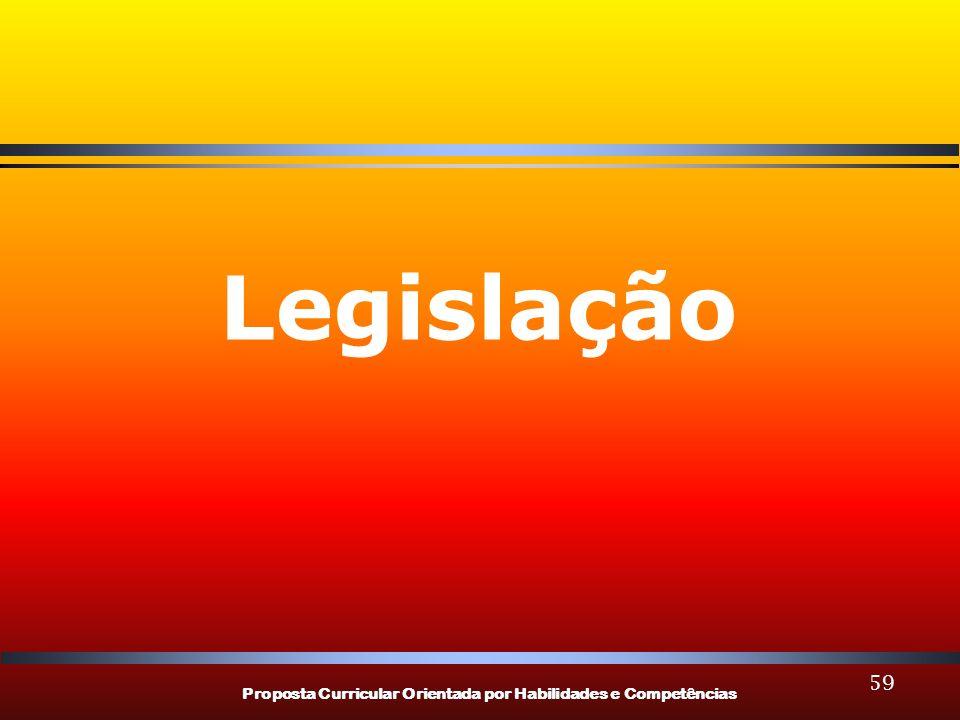 Proposta Curricular Orientada por Habilidades e Competências 59 Legislação