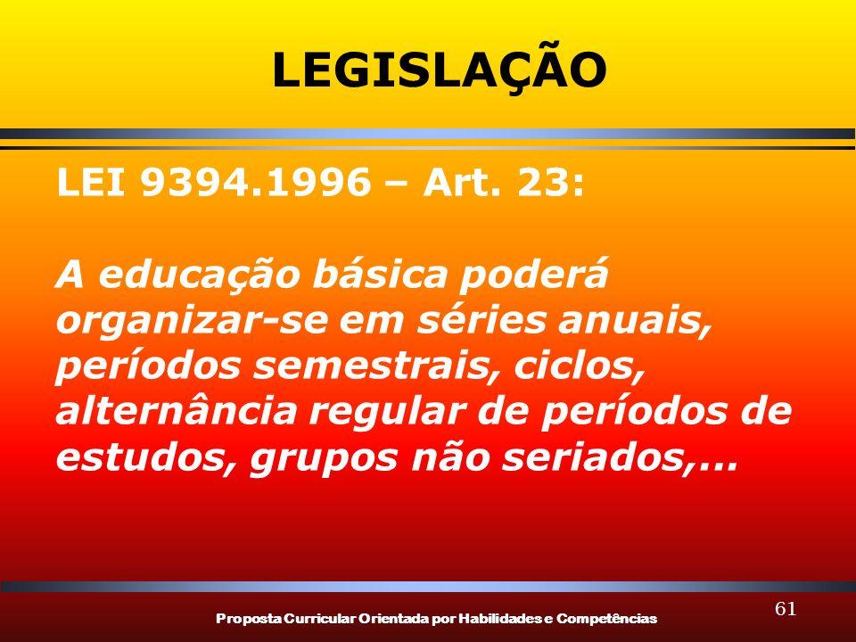Proposta Curricular Orientada por Habilidades e Competências 61 LEGISLAÇÃO LEI 9394.1996 – Art. 23: A educação básica poderá organizar-se em séries an