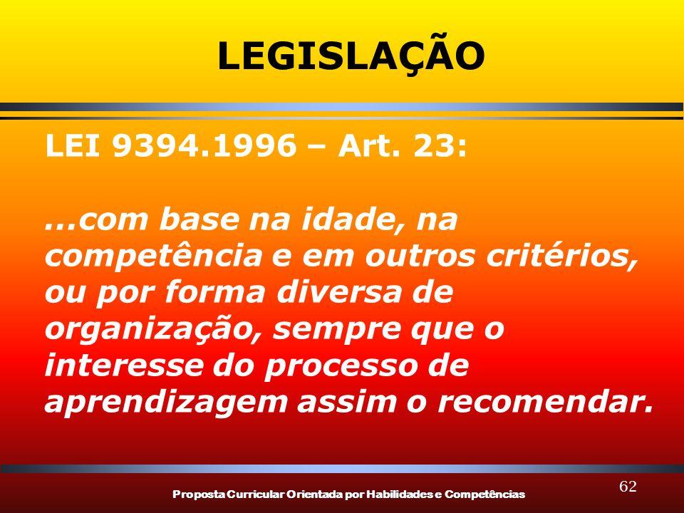 Proposta Curricular Orientada por Habilidades e Competências 62 LEGISLAÇÃO LEI 9394.1996 – Art. 23:...com base na idade, na competência e em outros cr