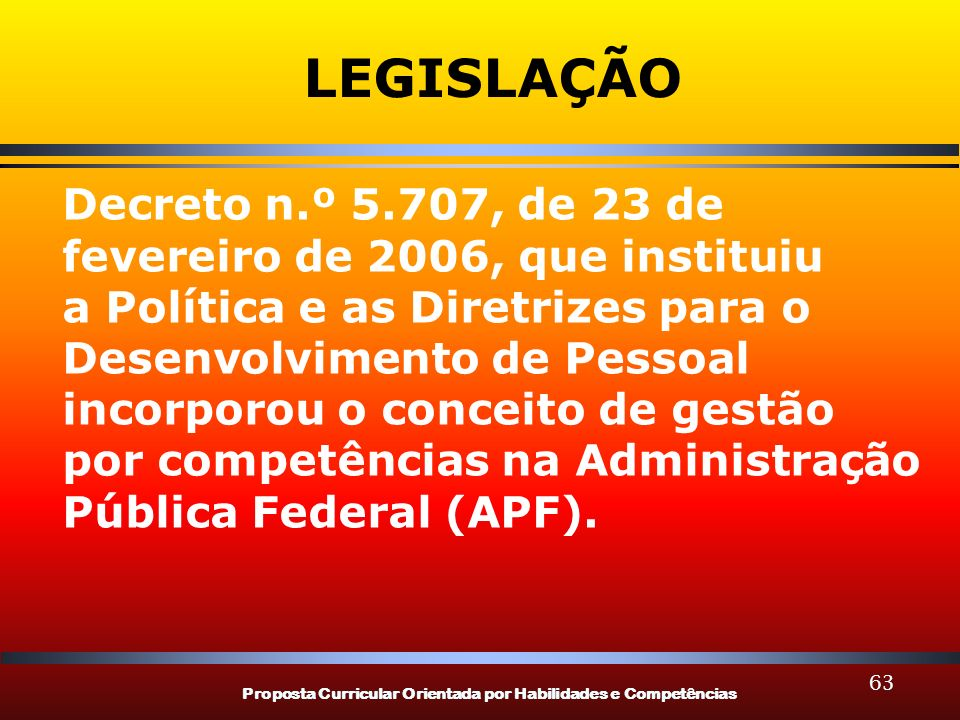 Proposta Curricular Orientada por Habilidades e Competências 63 LEGISLAÇÃO Decreto n.º 5.707, de 23 de fevereiro de 2006, que instituiu a Política e as Diretrizes para o Desenvolvimento de Pessoal incorporou o conceito de gestão por competências na Administração Pública Federal (APF).