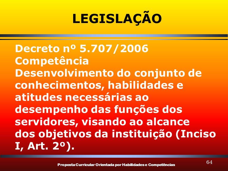 Proposta Curricular Orientada por Habilidades e Competências 64 LEGISLAÇÃO Decreto nº 5.707/2006 Competência Desenvolvimento do conjunto de conhecimen