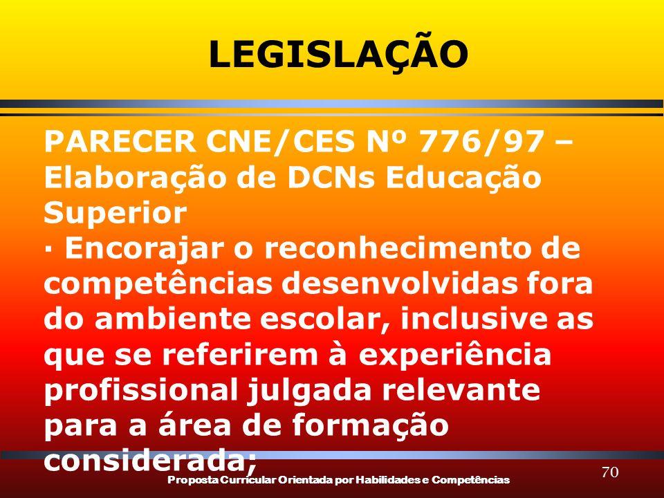 Proposta Curricular Orientada por Habilidades e Competências 70 LEGISLAÇÃO PARECER CNE/CES Nº 776/97 – Elaboração de DCNs Educação Superior · Encoraja