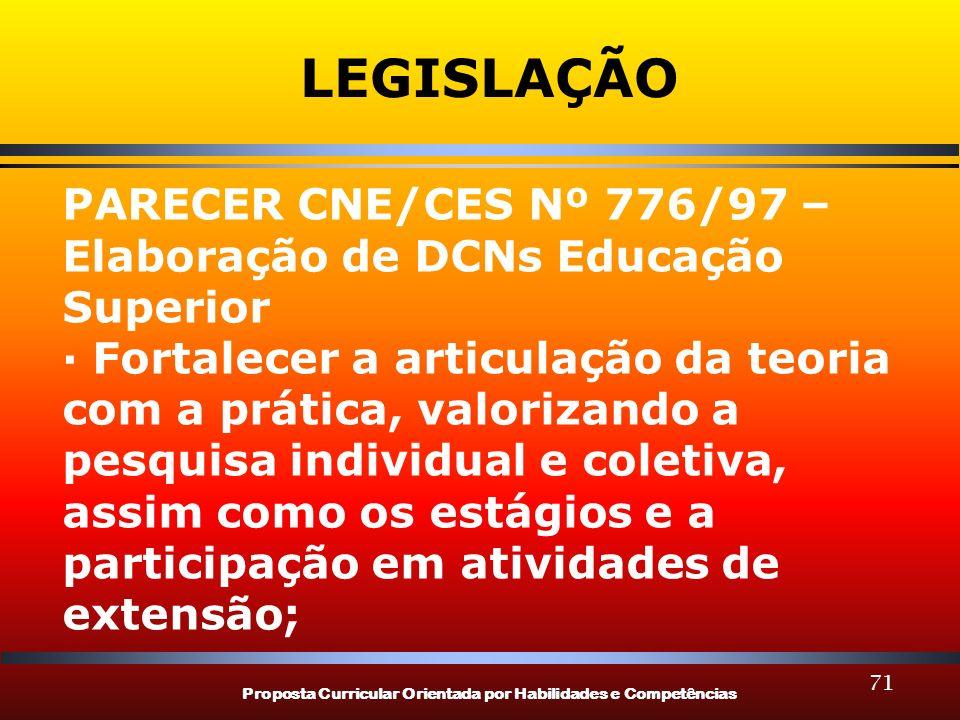 Proposta Curricular Orientada por Habilidades e Competências 71 LEGISLAÇÃO PARECER CNE/CES Nº 776/97 – Elaboração de DCNs Educação Superior · Fortalec