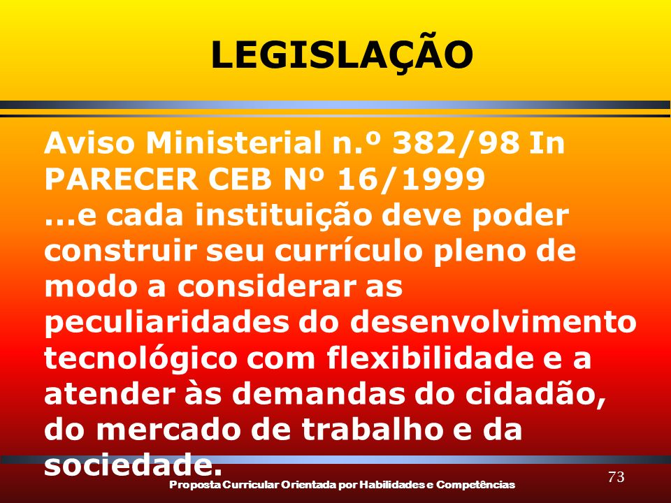 Proposta Curricular Orientada por Habilidades e Competências 73 LEGISLAÇÃO Aviso Ministerial n.º 382/98 In PARECER CEB Nº 16/1999...e cada instituição