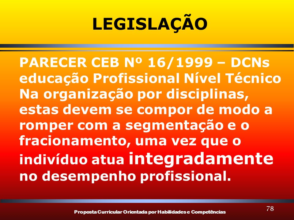 Proposta Curricular Orientada por Habilidades e Competências 78 LEGISLAÇÃO PARECER CEB Nº 16/1999 – DCNs educação Profissional Nível Técnico Na organi