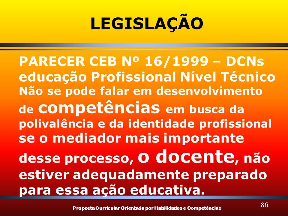 Proposta Curricular Orientada por Habilidades e Competências 86 LEGISLAÇÃO PARECER CEB Nº 16/1999 – DCNs educação Profissional Nível Técnico Não se po