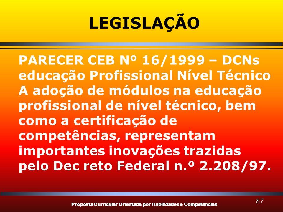 Proposta Curricular Orientada por Habilidades e Competências 87 LEGISLAÇÃO PARECER CEB Nº 16/1999 – DCNs educação Profissional Nível Técnico A adoção