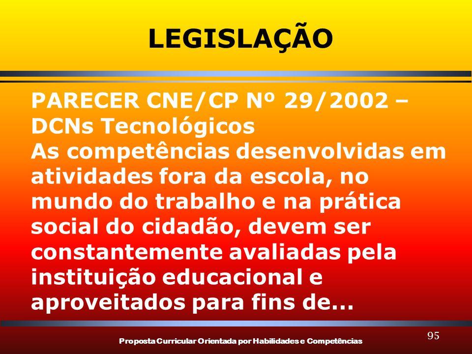 Proposta Curricular Orientada por Habilidades e Competências 95 LEGISLAÇÃO PARECER CNE/CP Nº 29/2002 – DCNs Tecnológicos As competências desenvolvidas